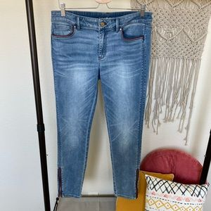 WHBM | Red Leather Trim Skimmer Jeans